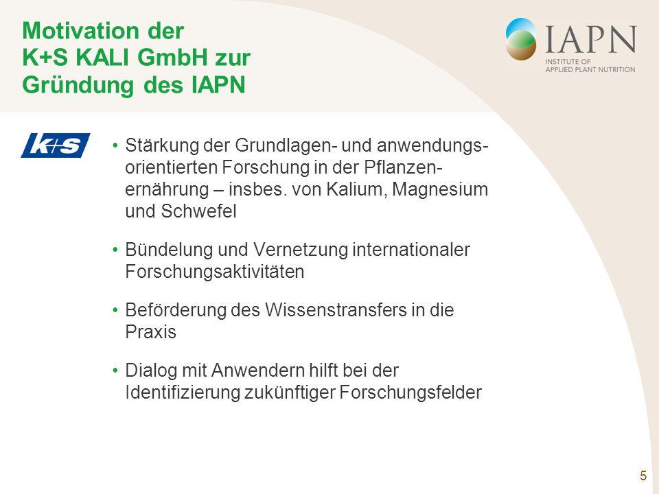 5 Motivation der K+S KALI GmbH zur Gründung des IAPN Stärkung der Grundlagen- und anwendungs- orientierten Forschung in der Pflanzen- ernährung – insbes.