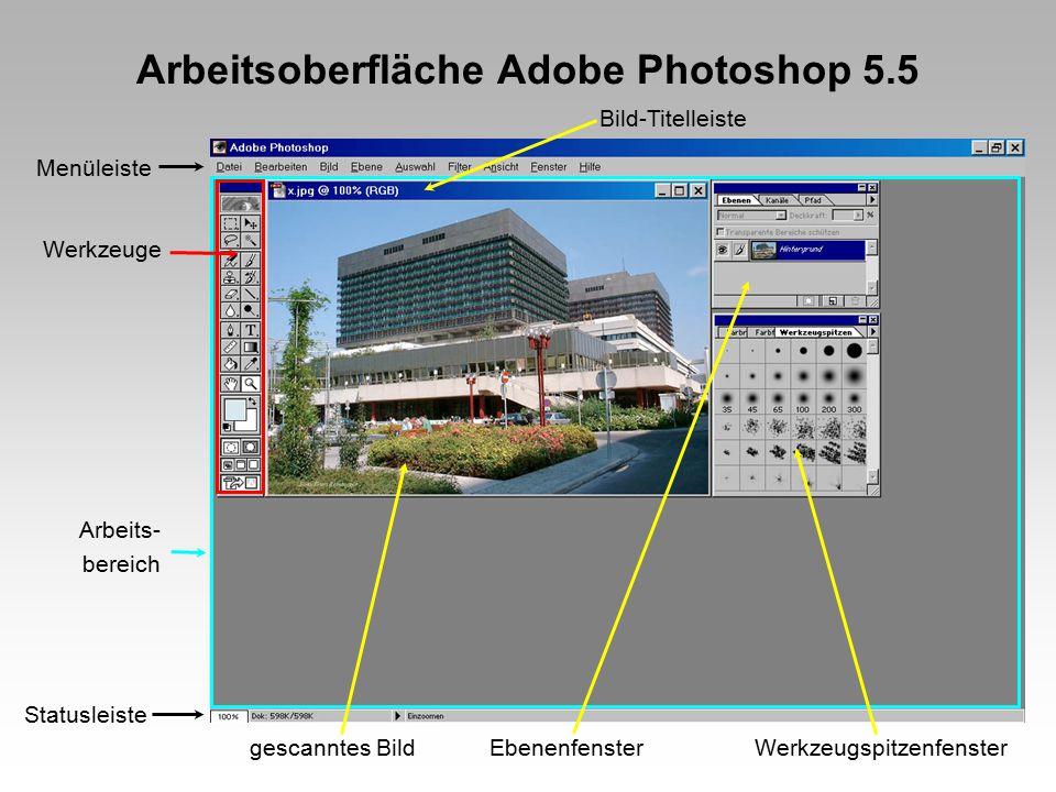 Scannen in Adobe Photoshop Menüleiste Beispiel für einen 35 mm Diascanner: DateiimportierenNikon....(je nach installiertem Scannertyp) DateigrößeDPIAusgabegrößeBildausschnitt vordefinieren vor dem eigentlichen Scan Hier werden vor dem eigentlichen Scan alle wichtigen Werte zumindest vorgewählt !