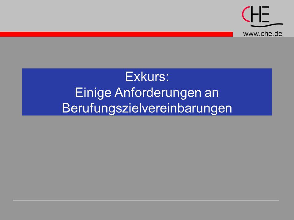 www.che.de Exkurs: Einige Anforderungen an Berufungszielvereinbarungen