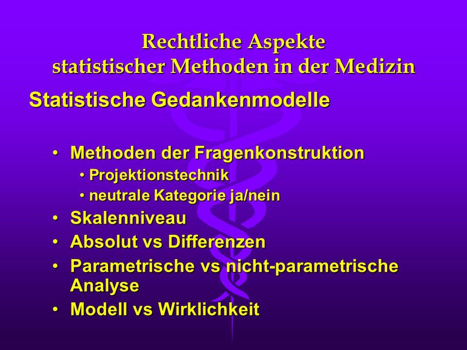 Rechtliche Aspekte statistischer Methoden in der Medizin Statistische Gedankenmodelle Methoden der FragenkonstruktionMethoden der Fragenkonstruktion Projektionstechnik Projektionstechnik neutrale Kategorie ja/nein neutrale Kategorie ja/nein SkalenniveauSkalenniveau Absolut vs DifferenzenAbsolut vs Differenzen Parametrische vs nicht-parametrische AnalyseParametrische vs nicht-parametrische Analyse Modell vs WirklichkeitModell vs Wirklichkeit