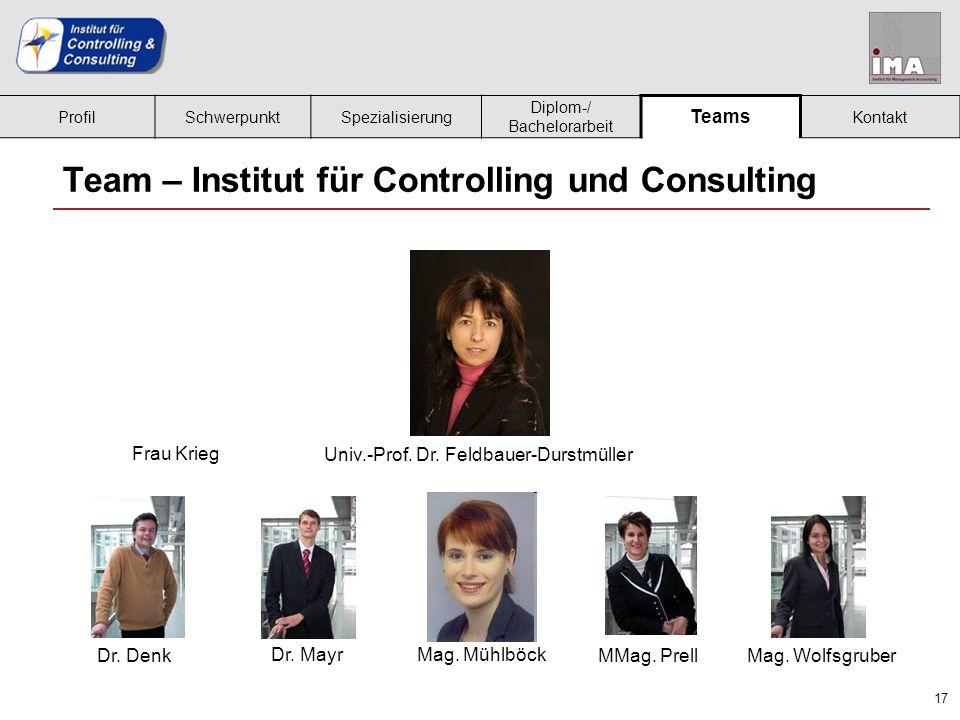 18 Team – Institut für Management Accounting Frau SturmUniv.-Prof.