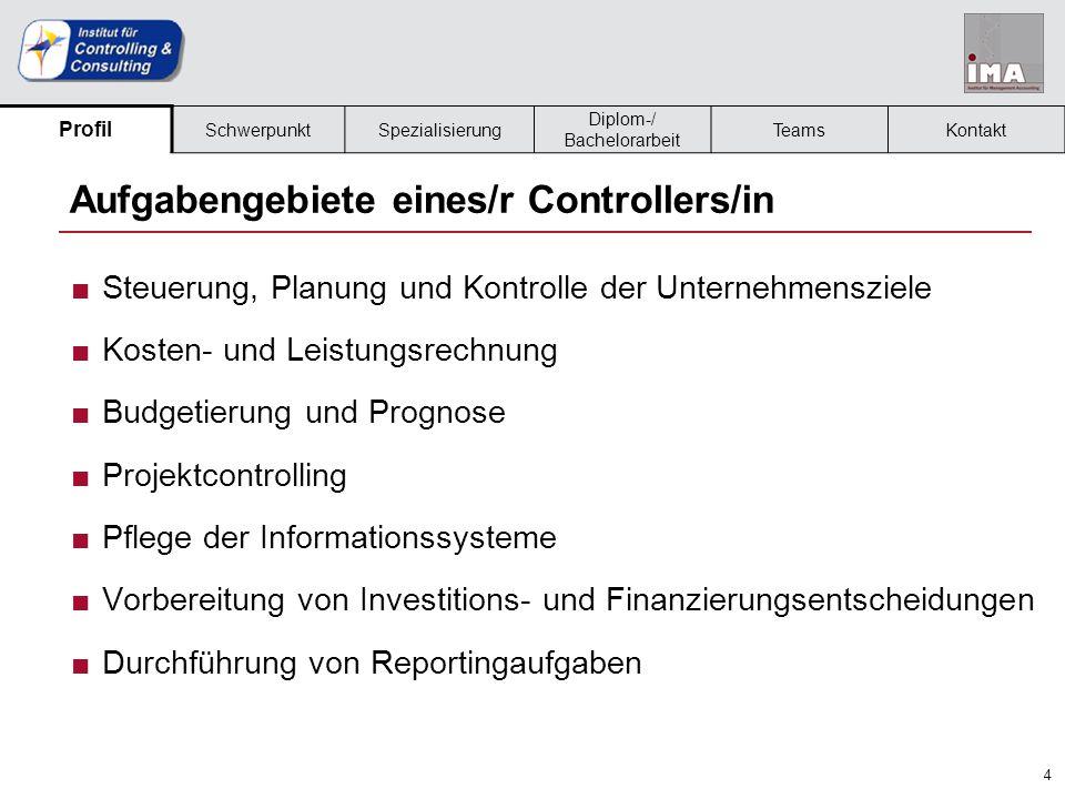 5 Berufsbild eines/r Controllers/in ■Controller/in als interner Dienstleister für die GF/operativen Bereiche ■Projektcontroller/in bzw.