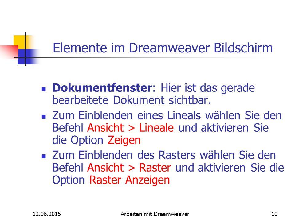 12.06.2015Arbeiten mit Dreamweaver10 Elemente im Dreamweaver Bildschirm Dokumentfenster: Hier ist das gerade bearbeitete Dokument sichtbar. Zum Einble