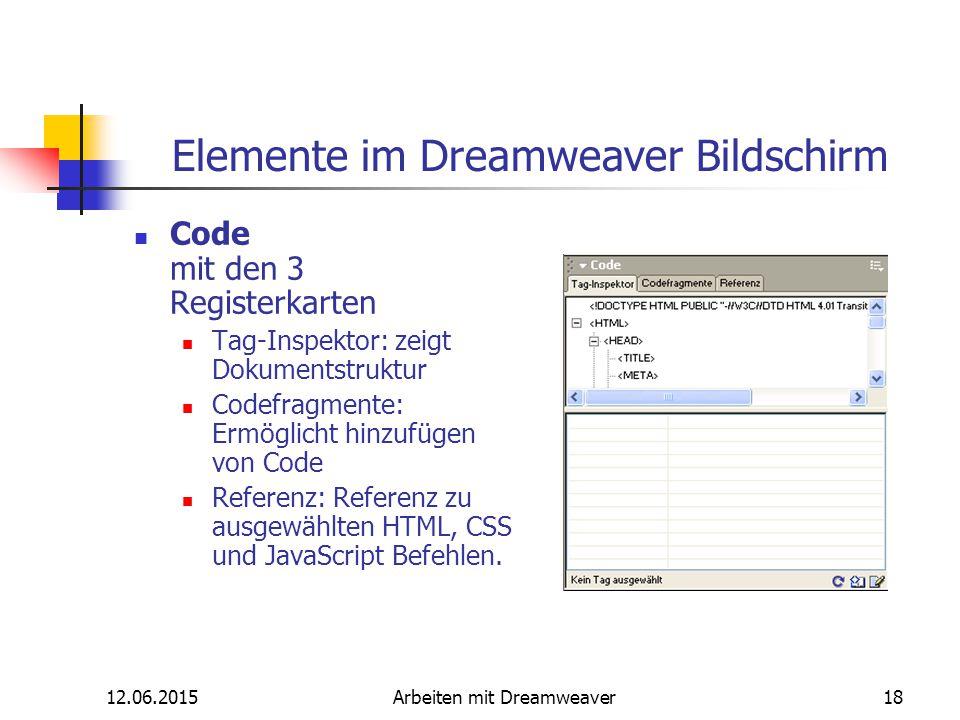 12.06.2015Arbeiten mit Dreamweaver18 Elemente im Dreamweaver Bildschirm Code mit den 3 Registerkarten Tag-Inspektor: zeigt Dokumentstruktur Codefragme