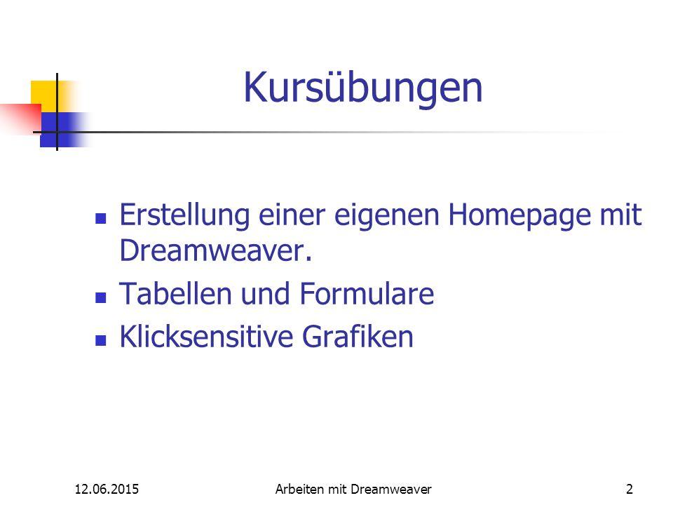 12.06.2015Arbeiten mit Dreamweaver2 Kursübungen Erstellung einer eigenen Homepage mit Dreamweaver. Tabellen und Formulare Klicksensitive Grafiken