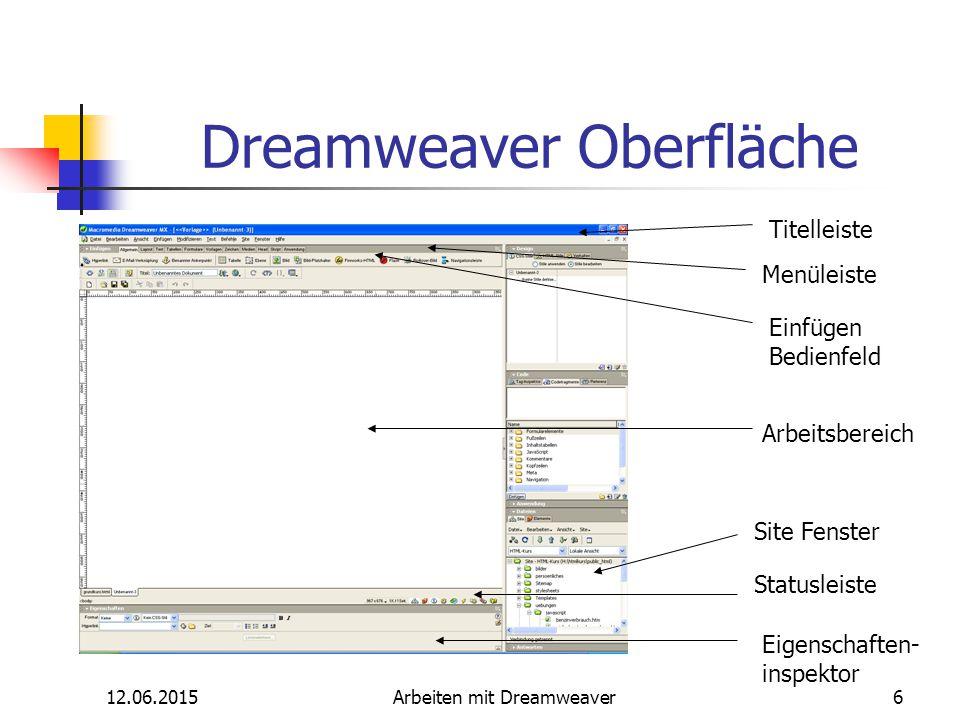 12.06.2015Arbeiten mit Dreamweaver6 Dreamweaver Oberfläche Titelleiste Menüleiste Einfügen Bedienfeld Arbeitsbereich Site Fenster Statusleiste Eigensc