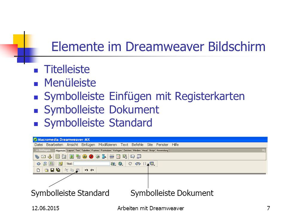12.06.2015Arbeiten mit Dreamweaver7 Elemente im Dreamweaver Bildschirm Titelleiste Menüleiste Symbolleiste Einfügen mit Registerkarten Symbolleiste Do