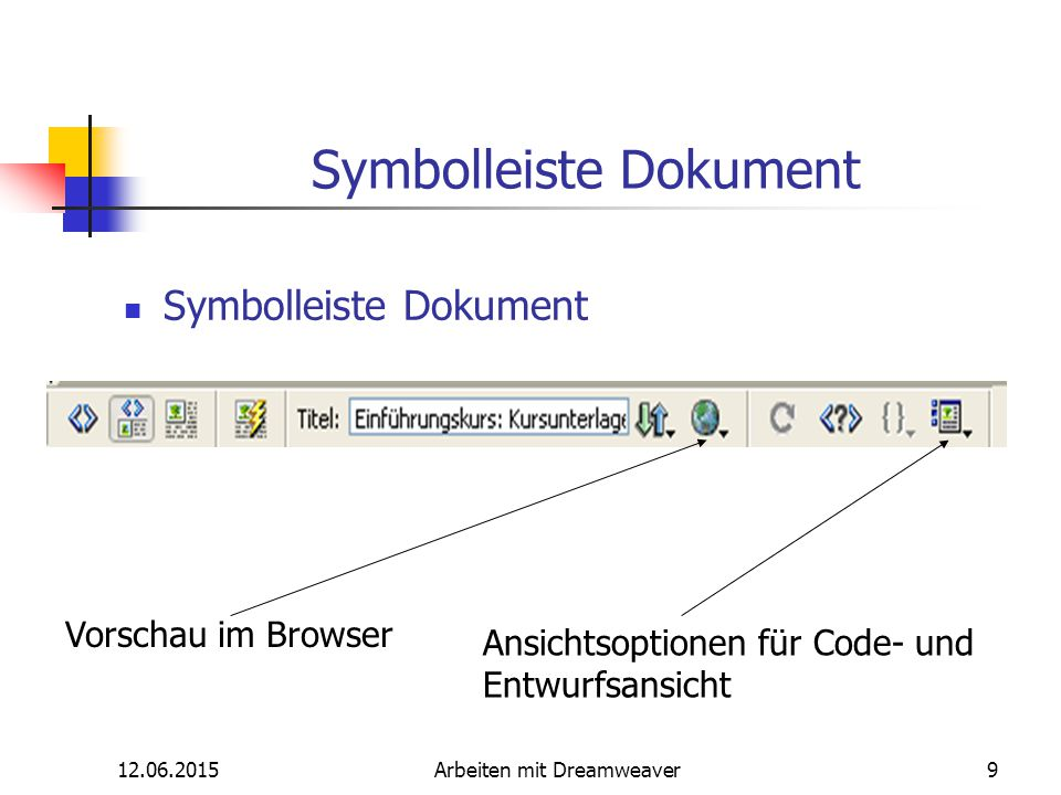 12.06.2015Arbeiten mit Dreamweaver10 Elemente im Dreamweaver Bildschirm Dokumentfenster: Hier ist das gerade bearbeitete Dokument sichtbar.