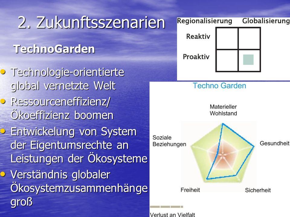 2. Zukunftsszenarien Technologie-orientierte global vernetzte Welt Technologie-orientierte global vernetzte Welt Ressourceneffizienz/ Ökoeffizienz boo