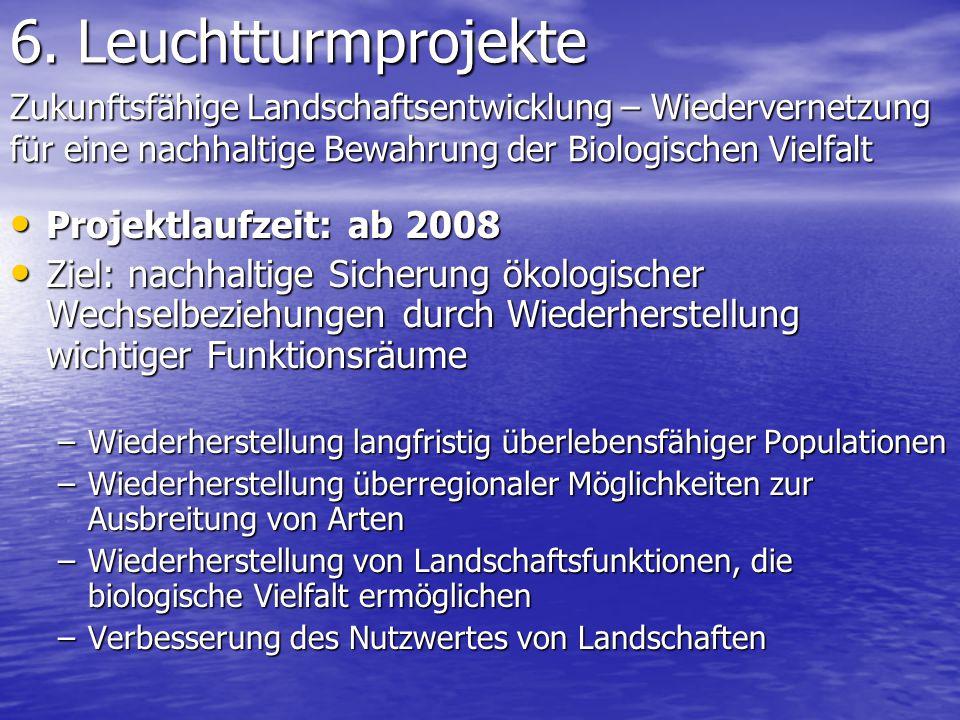 6. Leuchtturmprojekte Projektlaufzeit: ab 2008 Projektlaufzeit: ab 2008 Ziel: nachhaltige Sicherung ökologischer Wechselbeziehungen durch Wiederherste