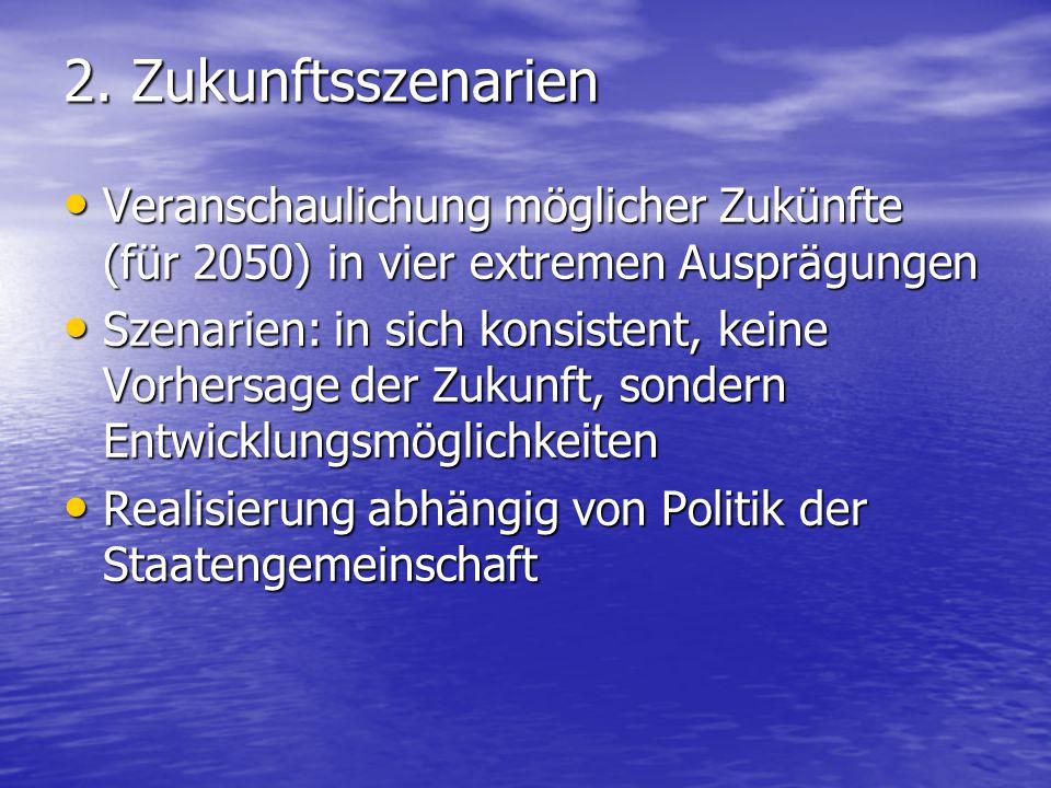 2. Zukunftsszenarien Veranschaulichung möglicher Zukünfte (für 2050) in vier extremen Ausprägungen Veranschaulichung möglicher Zukünfte (für 2050) in
