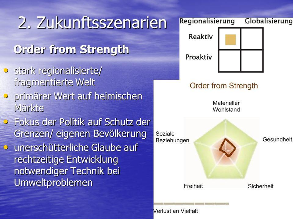 2. Zukunftsszenarien stark regionalisierte/ fragmentierte Welt stark regionalisierte/ fragmentierte Welt primärer Wert auf heimischen Märkte primärer