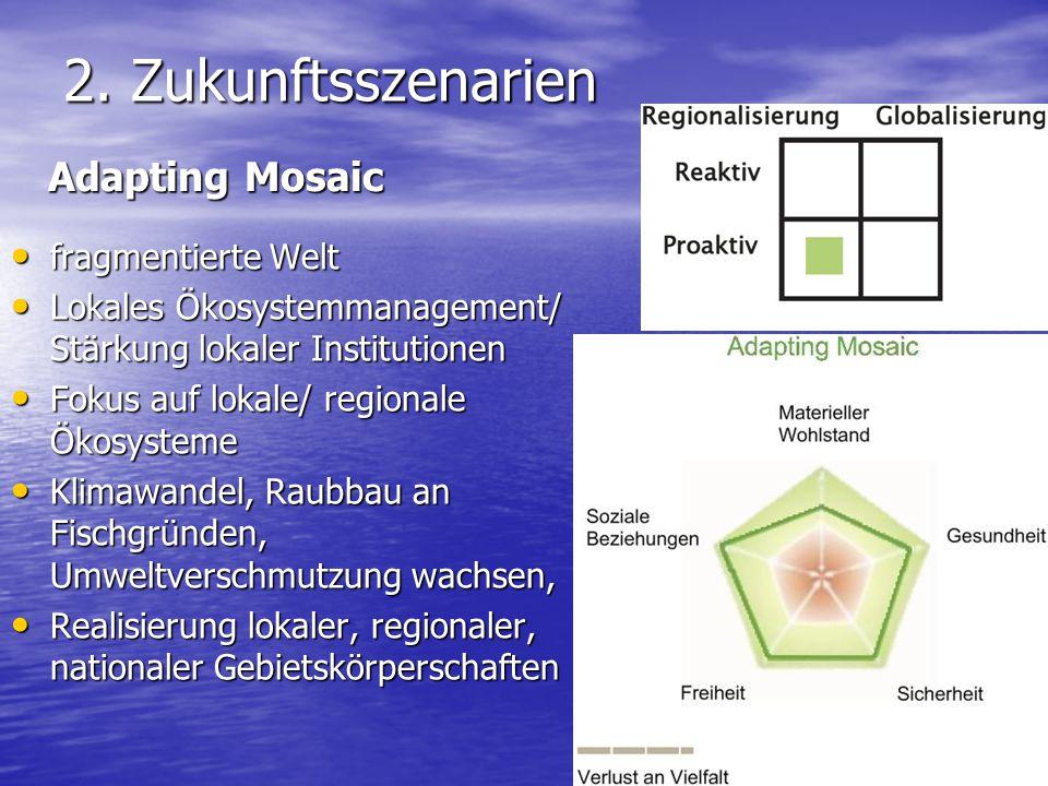 2. Zukunftsszenarien fragmentierte Welt fragmentierte Welt Lokales Ökosystemmanagement/ Stärkung lokaler Institutionen Lokales Ökosystemmanagement/ St