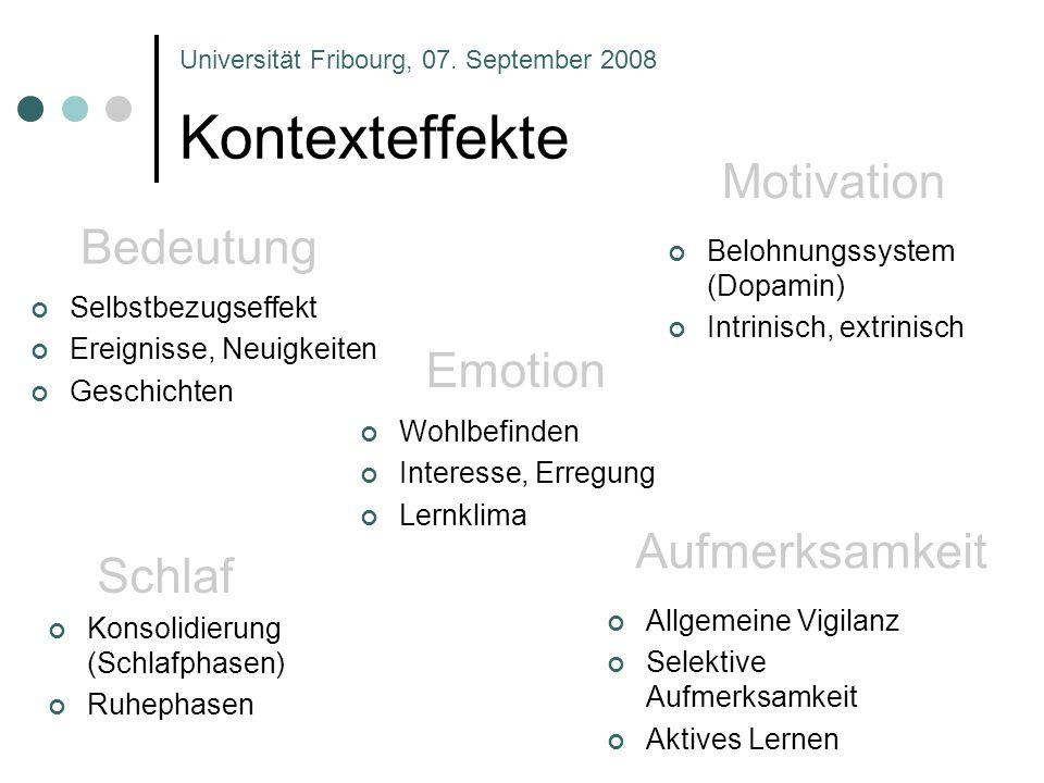 Kontexteffekte Aufmerksamkeit Universität Fribourg, 07. September 2008 Schlaf Motivation Bedeutung Emotion Selbstbezugseffekt Ereignisse, Neuigkeiten