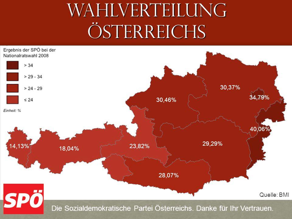 WAHLVERTEILUNG ÖSTERREICHS 34,79% 30,37% 30,46% 29,29% 28,07% 23,82% 18,04% 14,13% 40,06% Die Sozialdemokratische Partei Österreichs.