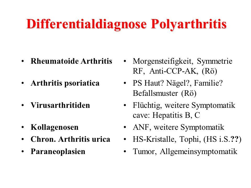 Rheumatoide Arthritis Arthritis psoriatica Virusarthritiden Kollagenosen Chron. Arthritis urica Paraneoplasien Morgensteifigkeit, Symmetrie RF, Anti-C