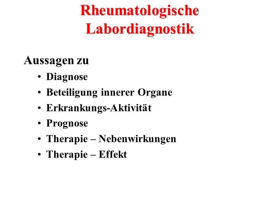 Aussagen zu Diagnose Beteiligung innerer Organe Erkrankungs-Aktivität Prognose Therapie – Nebenwirkungen Therapie – Effekt Rheumatologische Labordiagn