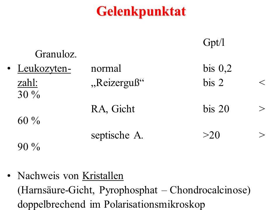 """Gpt/l Granuloz. Leukozyten-normalbis 0,2 zahl:""""Reizerguß""""bis 2< 30 % RA, Gichtbis 20> 60 % septische A.>20> 90 % Nachweis von Kristallen (Harnsäure-Gi"""