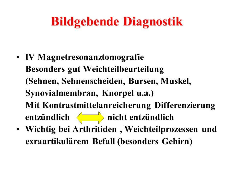 IV Magnetresonanztomografie Besonders gut Weichteilbeurteilung (Sehnen, Sehnenscheiden, Bursen, Muskel, Synovialmembran, Knorpel u.a.) Mit Kontrastmit