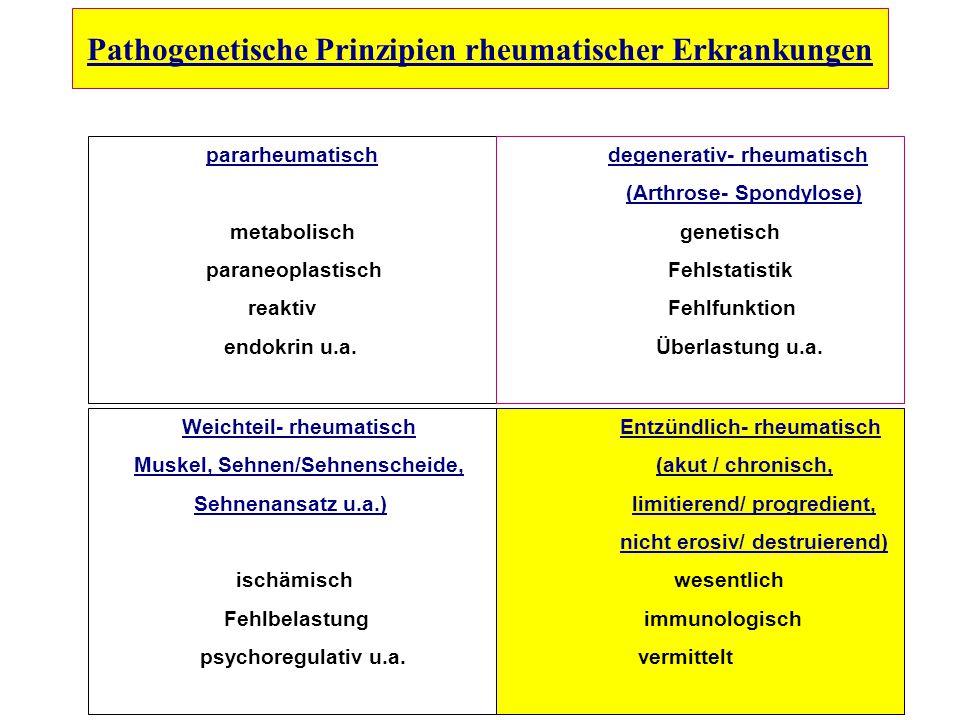 Pathogenetische Prinzipien rheumatischer Erkrankungen pararheumatisch metabolisch paraneoplastisch reaktiv endokrin u.a. degenerativ- rheumatisch (Art