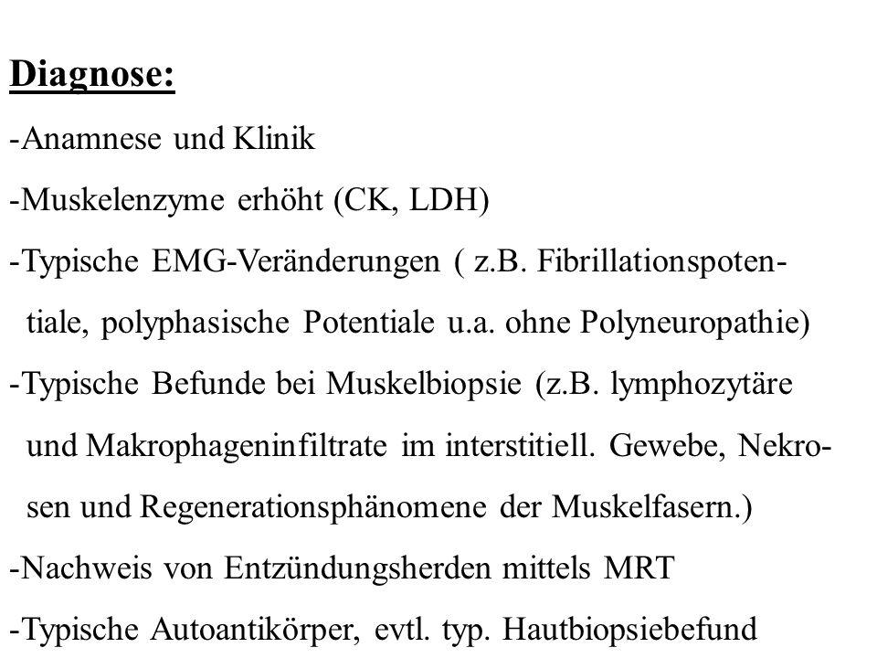 Diagnose: -Anamnese und Klinik -Muskelenzyme erhöht (CK, LDH) -Typische EMG-Veränderungen ( z.B. Fibrillationspoten- tiale, polyphasische Potentiale u