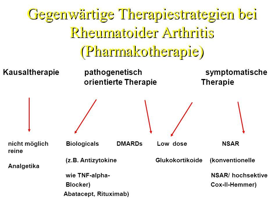 Gegenwärtige Therapiestrategien bei Rheumatoider Arthritis (Pharmakotherapie) Kausaltherapie pathogenetisch symptomatische orientierte Therapie Therap
