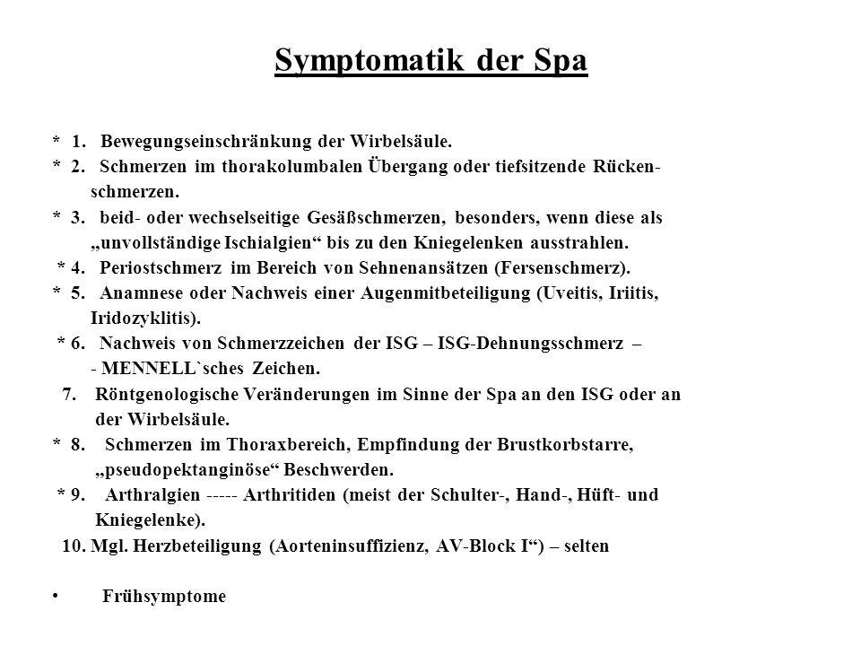 Symptomatik der Spa * 1. Bewegungseinschränkung der Wirbelsäule. * 2. Schmerzen im thorakolumbalen Übergang oder tiefsitzende Rücken- schmerzen. * 3.