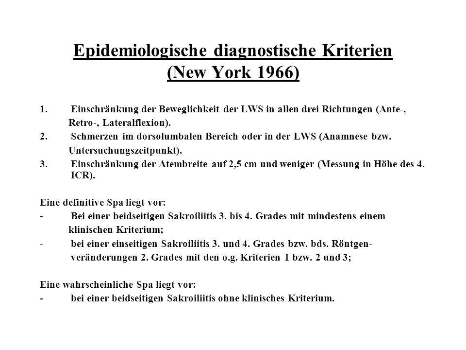 Epidemiologische diagnostische Kriterien (New York 1966) 1.Einschränkung der Beweglichkeit der LWS in allen drei Richtungen (Ante-, Retro-, Lateralfle