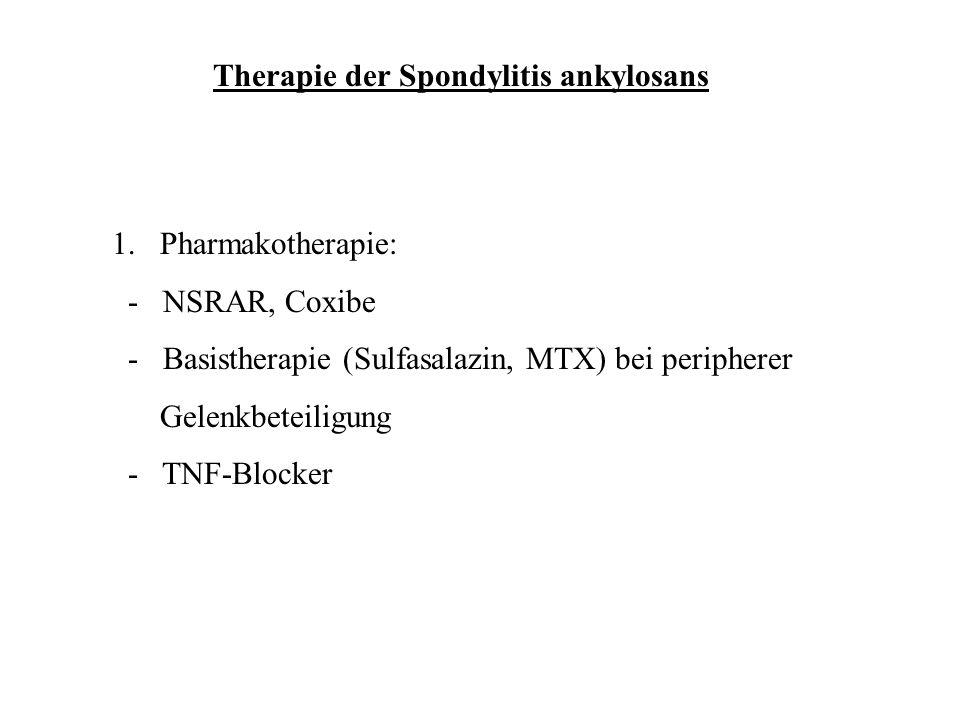 Therapie der Spondylitis ankylosans 1.Pharmakotherapie: - NSRAR, Coxibe - Basistherapie (Sulfasalazin, MTX) bei peripherer Gelenkbeteiligung - TNF-Blo