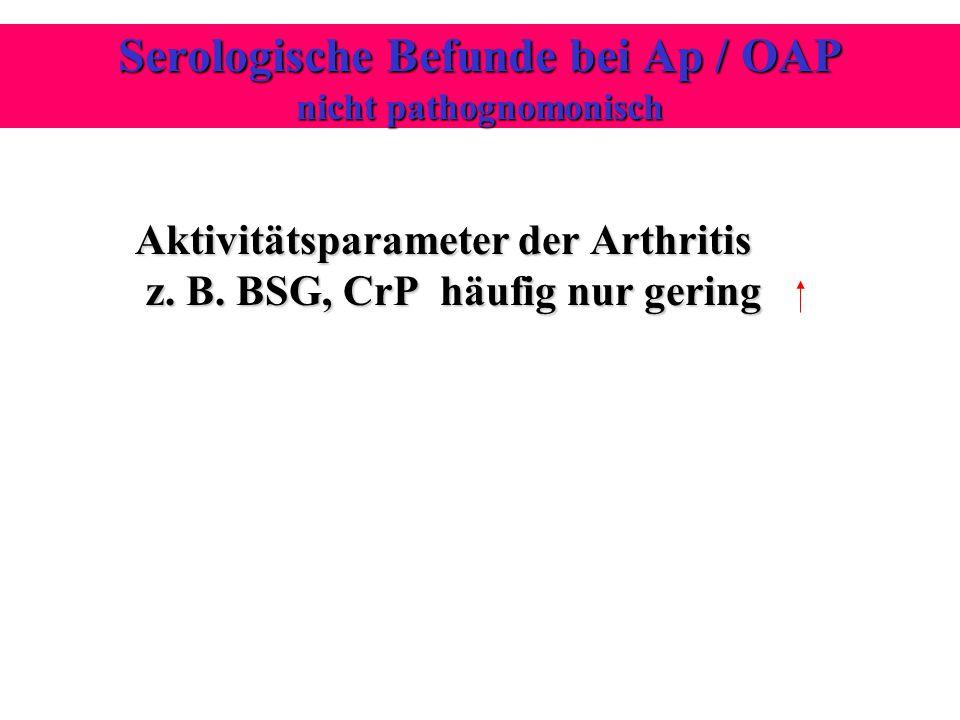 Aktivitätsparameter der Arthritis z. B. BSG, CrP häufig nur gering Aktivitätsparameter der Arthritis z. B. BSG, CrP häufig nur gering Serologische Bef