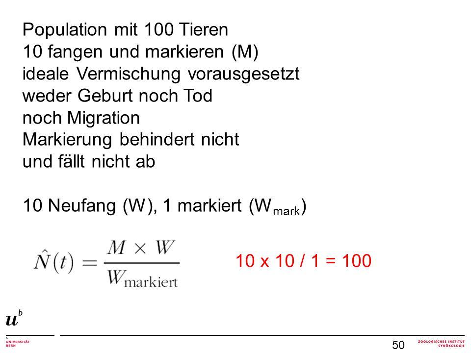 50 Population mit 100 Tieren 10 fangen und markieren (M) ideale Vermischung vorausgesetzt weder Geburt noch Tod noch Migration Markierung behindert ni