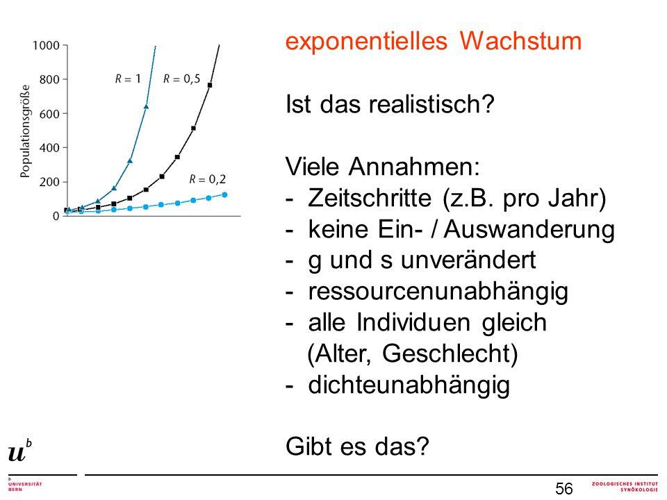 56 exponentielles Wachstum Ist das realistisch? Viele Annahmen: - Zeitschritte (z.B. pro Jahr) - keine Ein- / Auswanderung - g und s unverändert - res