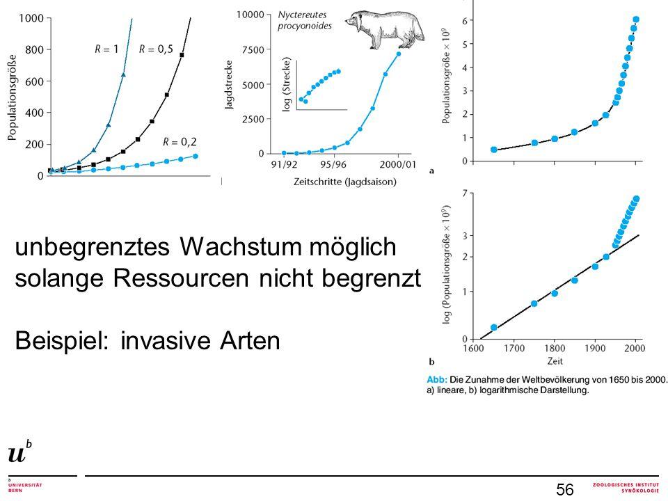 56 unbegrenztes Wachstum möglich solange Ressourcen nicht begrenzt Beispiel: invasive Arten