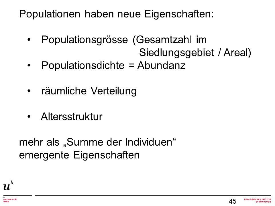 45 Populationen haben neue Eigenschaften: Populationsgrösse (Gesamtzahl im Siedlungsgebiet / Areal) Populationsdichte = Abundanz räumliche Verteilung