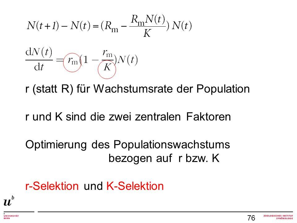 r (statt R) für Wachstumsrate der Population r und K sind die zwei zentralen Faktoren Optimierung des Populationswachstums bezogen auf r bzw. K r-Sele