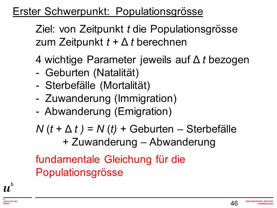 46 Erster Schwerpunkt: Populationsgrösse Ziel: von Zeitpunkt t die Populationsgrösse zum Zeitpunkt t + Δ t berechnen 4 wichtige Parameter jeweils auf