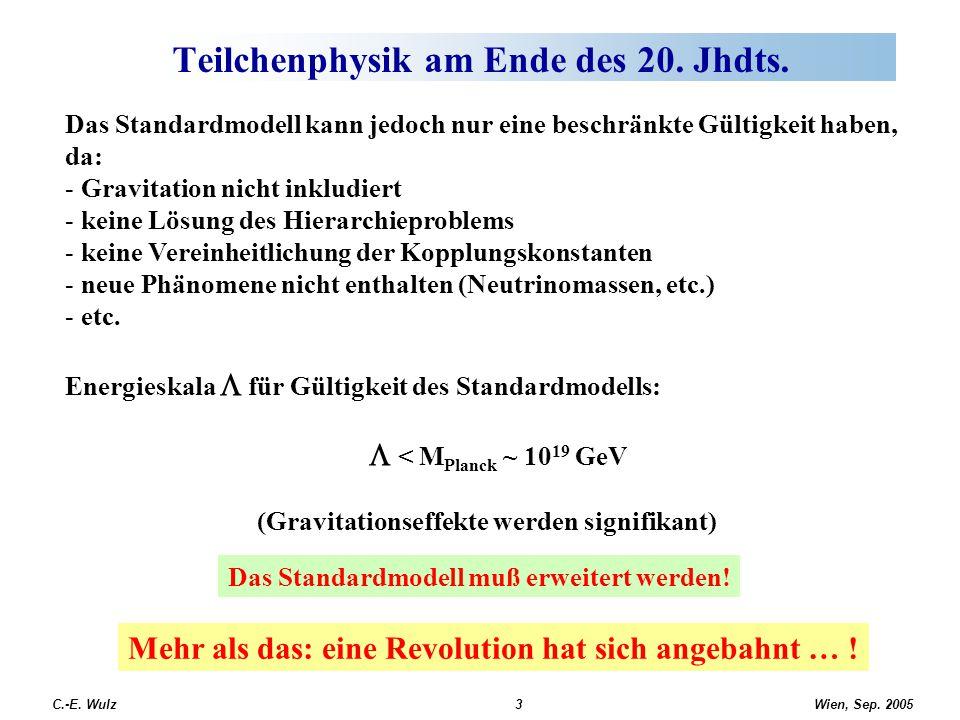 Wien, Sep. 2005 C.-E. Wulz3 Teilchenphysik am Ende des 20. Jhdts. Das Standardmodell kann jedoch nur eine beschränkte Gültigkeit haben, da: - Gravitat