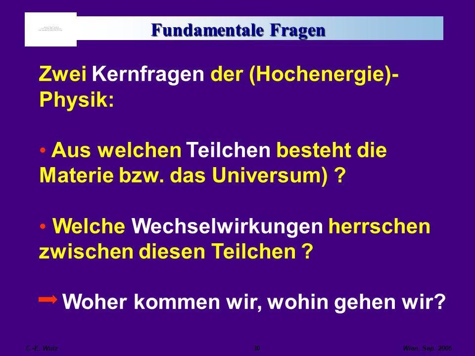 Wien, Sep. 2005 C.-E. Wulz30 Fundamentale Fragen Zwei Kernfragen der (Hochenergie)- Physik: Aus welchen Teilchen besteht die Materie bzw. das Universu