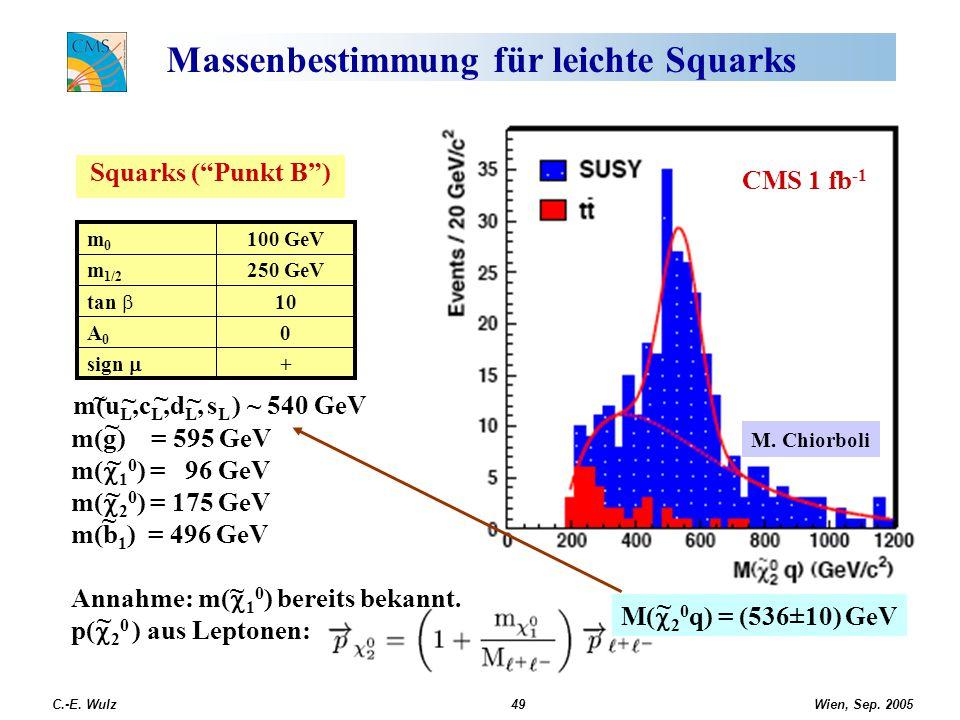 "Wien, Sep. 2005 C.-E. Wulz49 Massenbestimmung für leichte Squarks Squarks (""Punkt B"") CMS 1 fb -1 + sign  0A0A0 10 tan  250 GeVm 1/2 100 GeVm0m0 ~ ~"