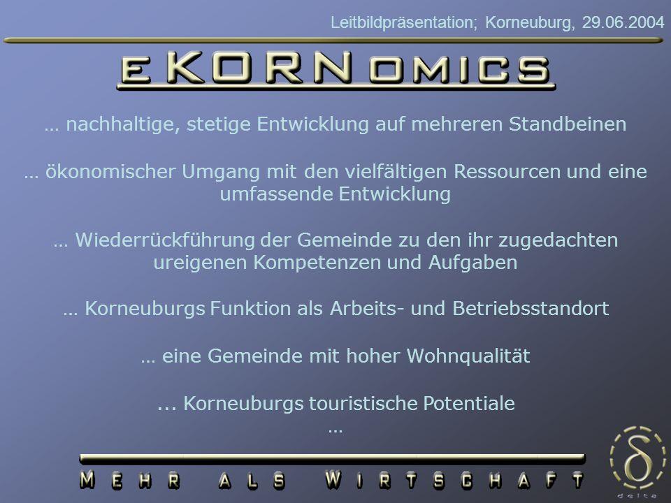 Leitbildpräsentation; Korneuburg, 29.06.2004 Leitziele Attraktivierung des Zentrums Steigerung des Wirtschaftspotentials Ausbau des Kultur- und Tourismusstandorts Neugestaltung des Werftareals Verbesserung des Wohnumfeldes