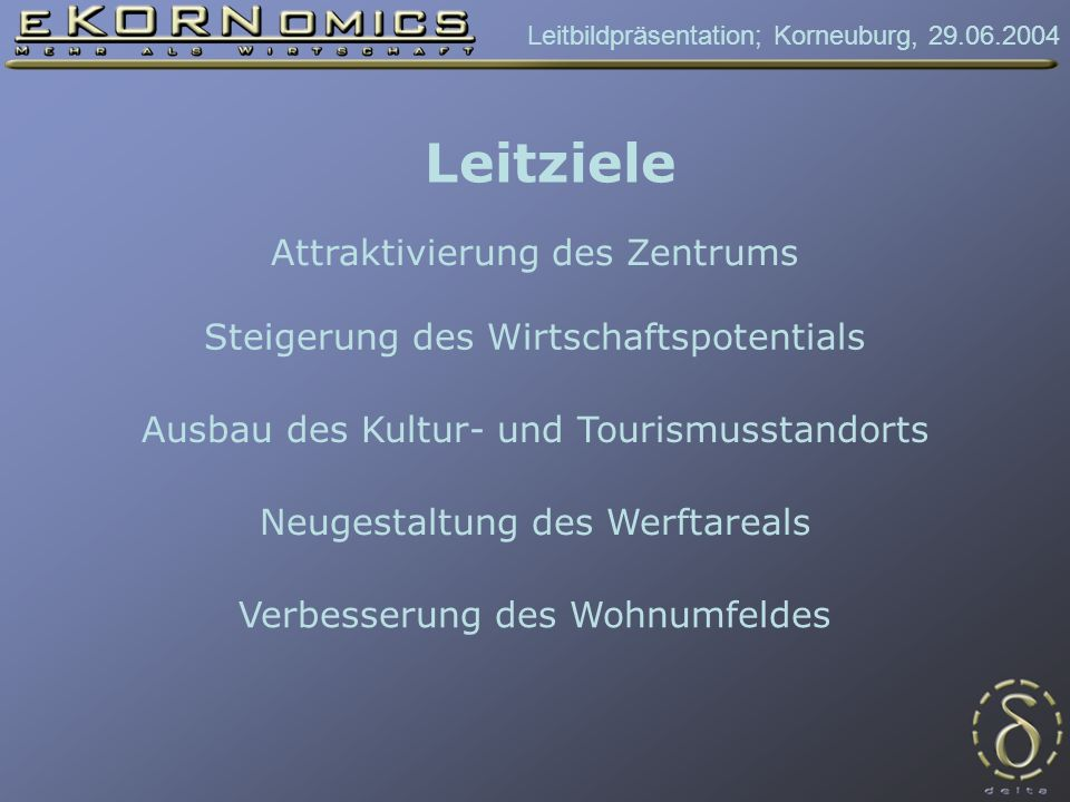 Leitbildpräsentation; Korneuburg, 29.06.2004 Esplanade