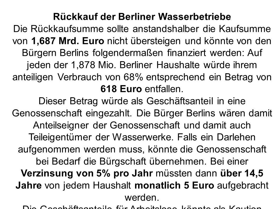 Rückkauf der Berliner Wasserbetriebe Die Rückkaufsumme sollte anstandshalber die Kaufsumme von 1,687 Mrd.
