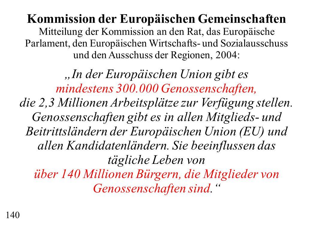 """Kommission der Europäischen Gemeinschaften Mitteilung der Kommission an den Rat, das Europäische Parlament, den Europäischen Wirtschafts- und Sozialausschuss und den Ausschuss der Regionen, 2004: """"In der Europäischen Union gibt es mindestens 300.000 Genossenschaften, die 2,3 Millionen Arbeitsplätze zur Verfügung stellen."""