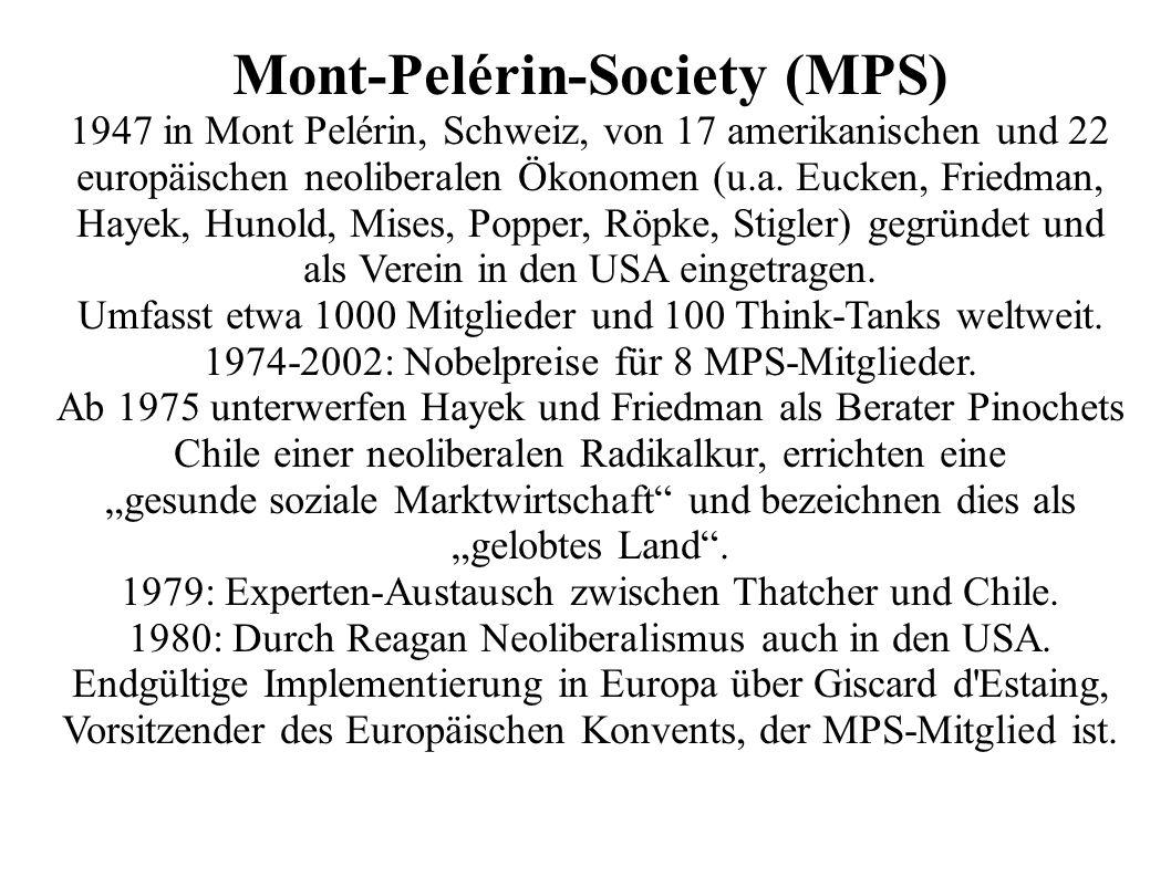 Mont-Pelérin-Society (MPS) 1947 in Mont Pelérin, Schweiz, von 17 amerikanischen und 22 europäischen neoliberalen Ökonomen (u.a.