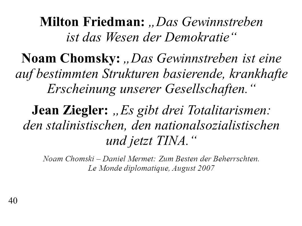 """Milton Friedman: """"Das Gewinnstreben ist das Wesen der Demokratie Noam Chomsky: """"Das Gewinnstreben ist eine auf bestimmten Strukturen basierende, krankhafte Erscheinung unserer Gesellschaften. Jean Ziegler: """"Es gibt drei Totalitarismen: den stalinistischen, den nationalsozialistischen und jetzt TINA. Noam Chomski – Daniel Mermet: Zum Besten der Beherrschten."""