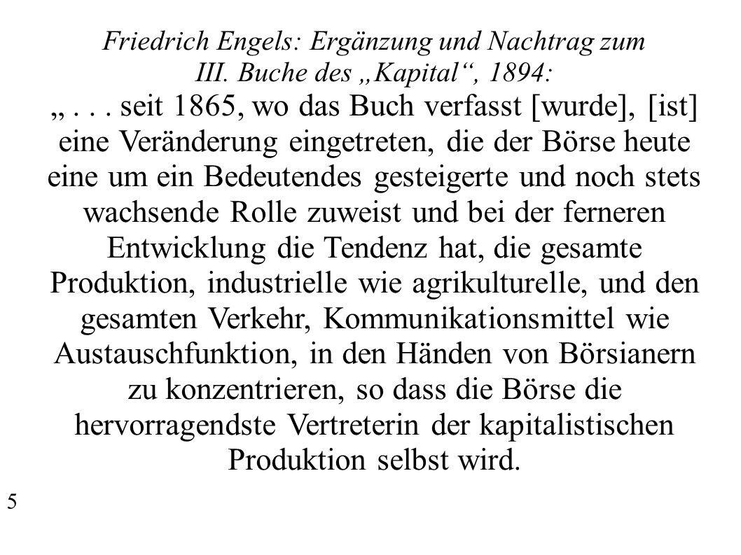 """Friedrich Engels: Ergänzung und Nachtrag zum III. Buche des """"Kapital , 1894: """"..."""