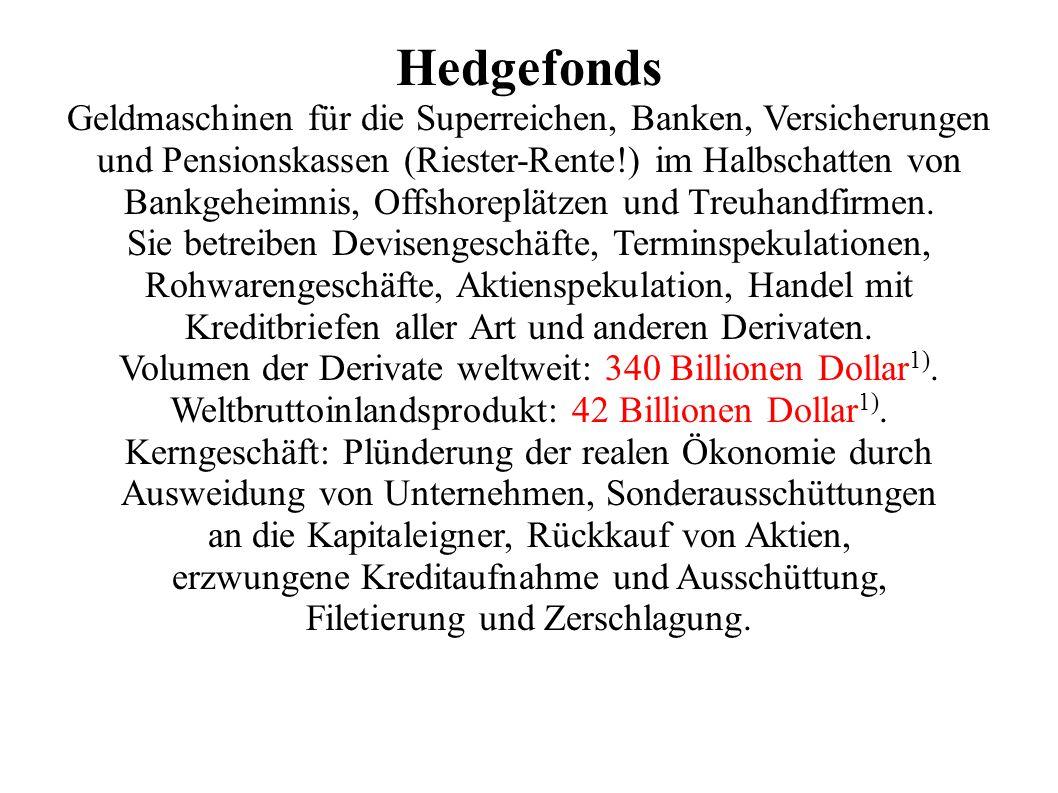 Hedgefonds Geldmaschinen für die Superreichen, Banken, Versicherungen und Pensionskassen (Riester-Rente!) im Halbschatten von Bankgeheimnis, Offshoreplätzen und Treuhandfirmen.