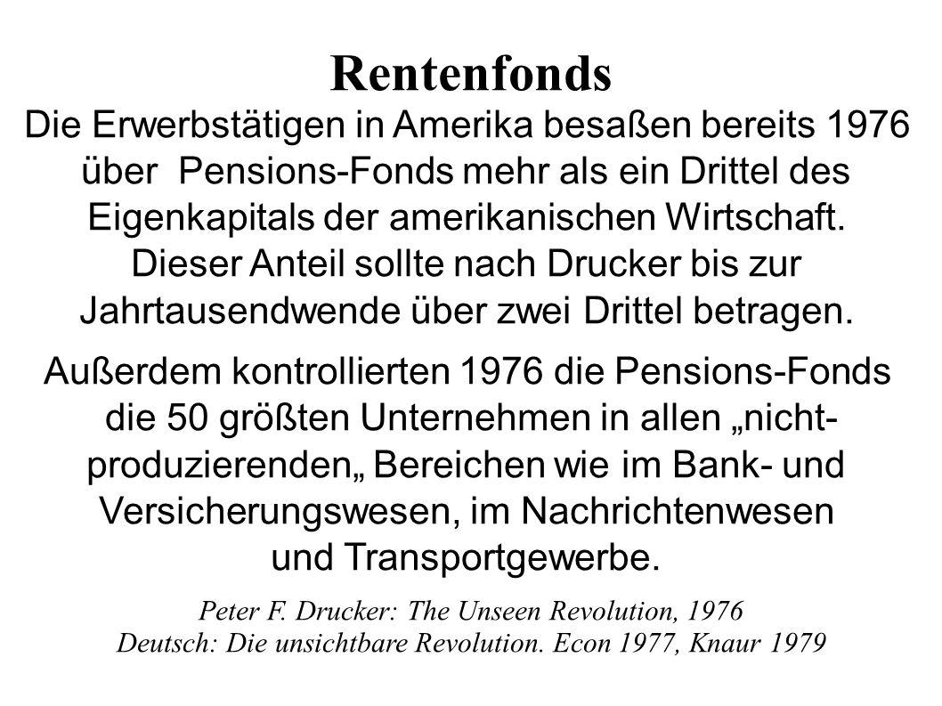 Rentenfonds Die Erwerbstätigen in Amerika besaßen bereits 1976 über Pensions-Fonds mehr als ein Drittel des Eigenkapitals der amerikanischen Wirtschaft.
