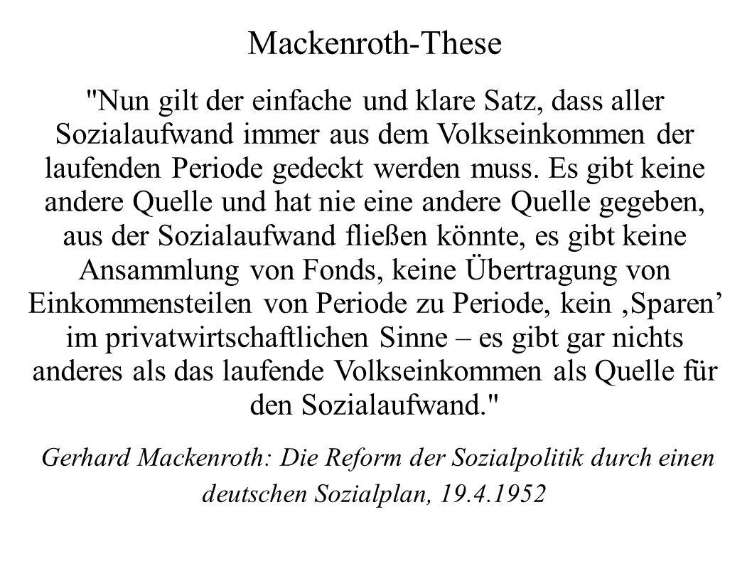 Mackenroth-These Nun gilt der einfache und klare Satz, dass aller Sozialaufwand immer aus dem Volkseinkommen der laufenden Periode gedeckt werden muss.