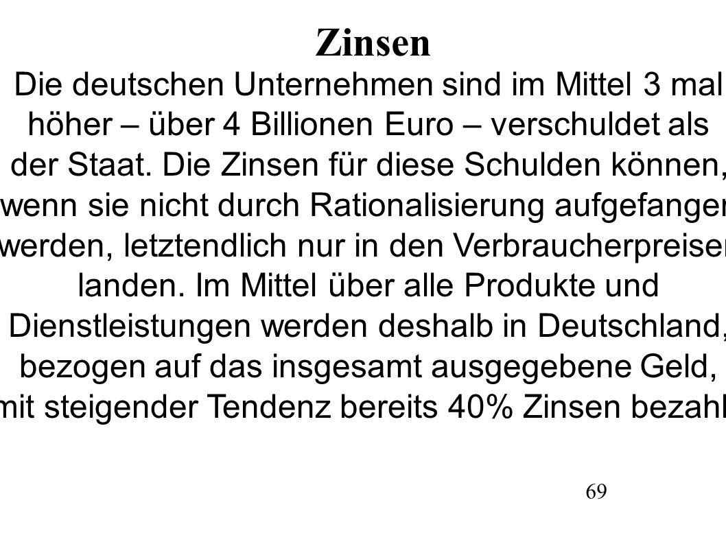 Zinsen Die deutschen Unternehmen sind im Mittel 3 mal höher – über 4 Billionen Euro – verschuldet als der Staat.
